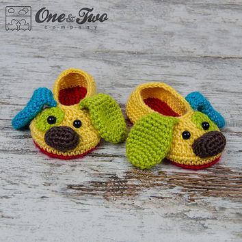 Scrappy the Happy Puppy Slippers - PDF Crochet Pattern - Toddler sizes ( US 6, 7-8, 9 ) - Shoes Toddler Booties Slippers