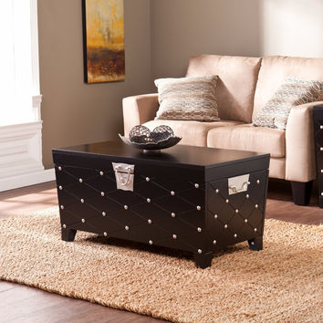 Nailhead Cocktail Table Trunk - Black & Satin Silver