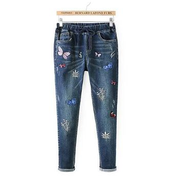 Pink butterfly embroidery Drawstring Elastic waist Jeans mori girl Autumn