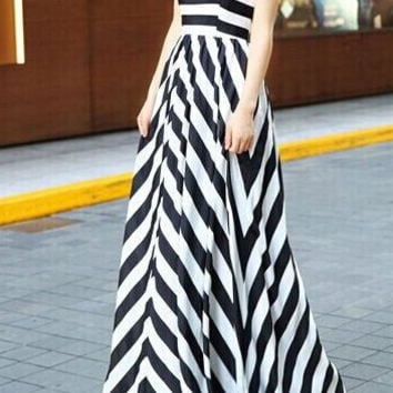 Stripe Strapless Maxi Dress