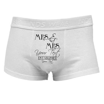 Personalized Mrs and Mrs Lesbian Wedding - Name- Established -Date- Design Mens Cotton Trunk Underwear