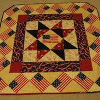 Patriotic Quilted Wall Hanging Lap Quilt Stars and Stripes