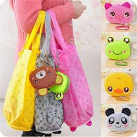 2017 Cartoon Animal Foldable Folding Shopping Tote Reusable Eco Bag Panda Frog Pig Bear waterproof shopping bags Storage Bags