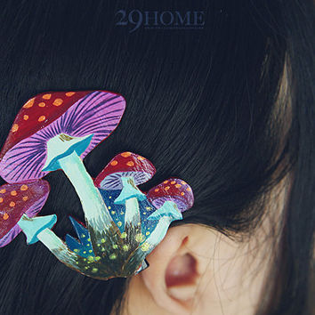 mushroom hand-painted hairpin jewelry for her him beautiful surprise gift 69