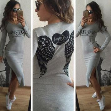 Wing Print Back Slit Long Sleeve Dress