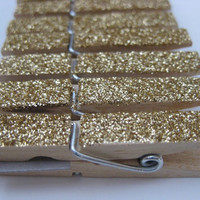 Gold Glitter Clothespins - Place Card Holders - Set of 12 - MEDIUM SIZE