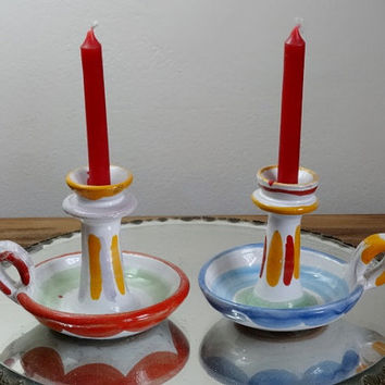 Pair La Musa Candle Holder Finger Candlesticks Italy Neiman Marcus Pottery Ceramics Majolica