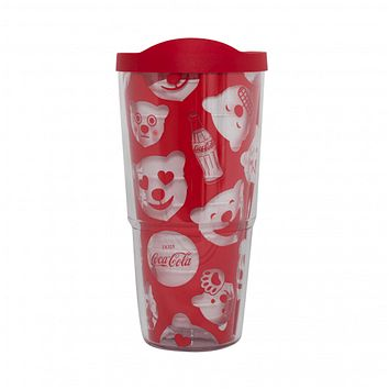 Authentic Coca-Cola Coke Polar Bear Emoji Tervis Tumbler 24oz New