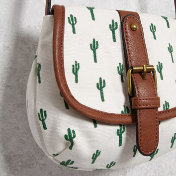 Canvas Cactus Print Crossbody