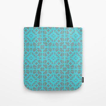 Turquoise and Gray Pattern  Tote Bag by Xiari