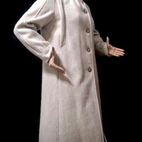Beige Coat Long Wool Coat Vintage 80's Cream Tan Winter Coat Freddi Gail Dress Coat USA
