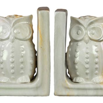 Urban Trends Collection Ceramic Gloss Finish Cream Marbleized Owl Figurine Bookend