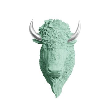 The Yellowstone | Large Buffalo Bison Head | Faux Taxidermy | Mint Green + Silver Horns Resin