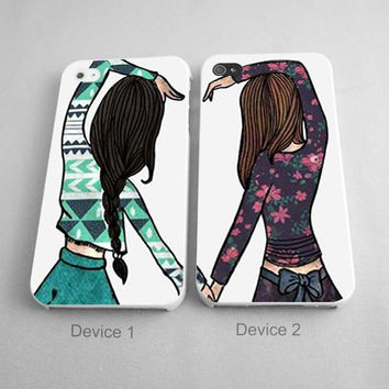 BFF Phone Case Best Friend Forever Brown And Black Hair Girls Couples Phone Case iPhone 4/4S, 5/5S, 5C Series - Hard Plastic, Rubber Case