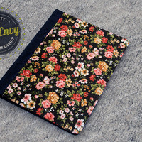 Floral Pattern With Black Pattern iPad 2/3/4 Folio Case