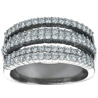 1 1/4ct tw Diamond Anniversary Ring in 14K White Gold - Diamond Rings - Jewelry & Gifts