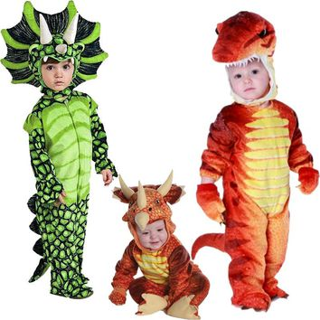 New Triceratops Costume Boys Kids Little T-Rex Costume Cosplay Dinosaur Jumpsuit Halloween Cosplay Christmas costumes for kids