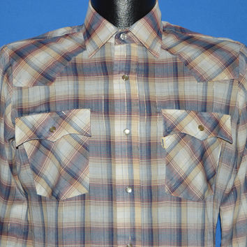 80s Levis Bue Brown Red Plaid Pearl Snap Shirt Small
