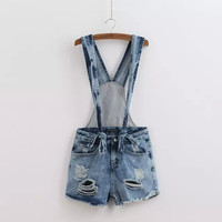 Summer Stylish Ripped Holes Simple Design Romper Casual Shorts Jeans [4917849220]
