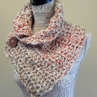 Button cowl. Scarf. Katniss inspired cowl. Crochet Cowl. Made by Bead G's on ETSY. Tan and coral.