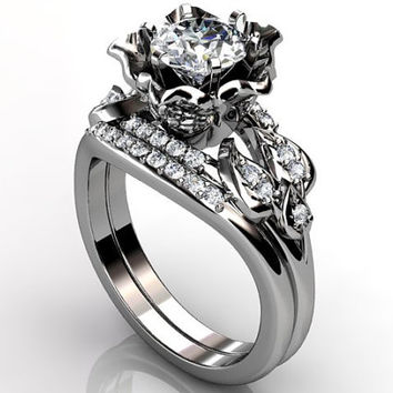 Platinum diamond unusual unique flower engagement ring, bridal ring, wedding ring, engagement set ER-1087