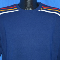 70s Blue Striped Shoulder Ski Sweater Medium