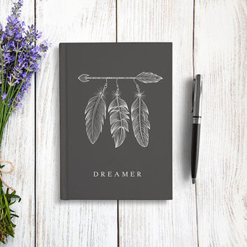 Writing Journal, Hardcover Notebook, Sketchbook, Dream Diary, Arrow and Feathers, Unique Gift Under 20, Gift for Writers - Dreamer