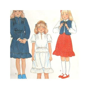 McCalls 7863 Vintage Uncut Pattern Girls Vest Blouse and Skirt  Ruffled Size 8