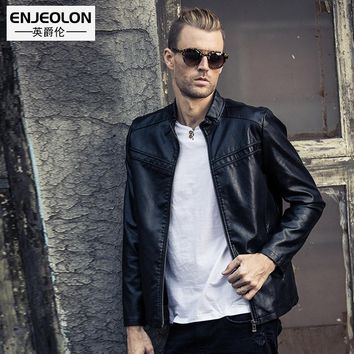 Leather PU Jackets Men fashion black Clothing zipper sleeve Stand collar Male Casual Coats