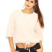 West Coast Wardrobe  Sweat It Out French Terry Crop Sweater in Taupe