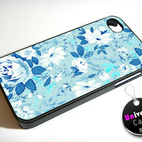 Blue Floral Flower iPhone 4S Case Hard Plastic
