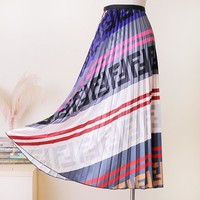 Fendi high quality new fashion more letter print contrast color skirt women