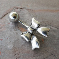 Silver Bow Belly Button Ring Jewelry by MidnightsMojo on Etsy