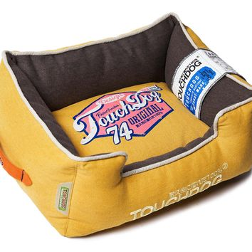 Touchdog Original Sporty Vintage Throwback Reversible Plush Rectangular Dog Bed