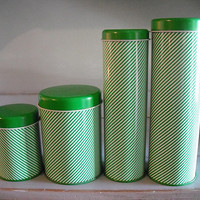 4 vintage Green and White Tins ~ Striped Tins ~ Kitchen containers ~ Bath storage ~ Modern cool