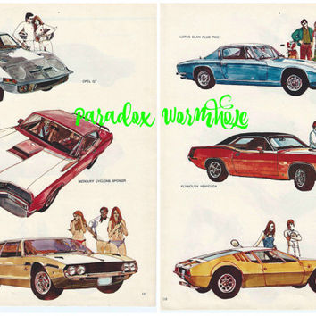 Vintage 1969 60's Double Sided Car Wall Art Decor OPEL Mercury Lamborghini Lotus Plymouth DE Tomaso Man Cave