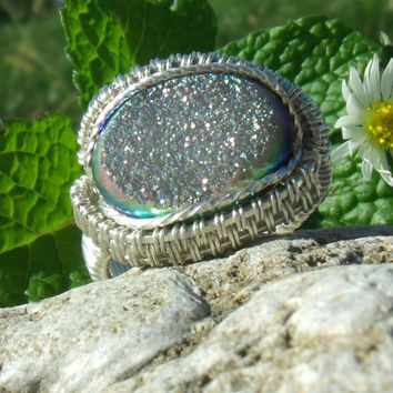 Druse Rainbow Titanium Druzy Quartz Wire Wrap Ring Sterling Silver Glitter Trendy Size 7.5 Stone Gemstone Geode Crystal Point Kynd Valley