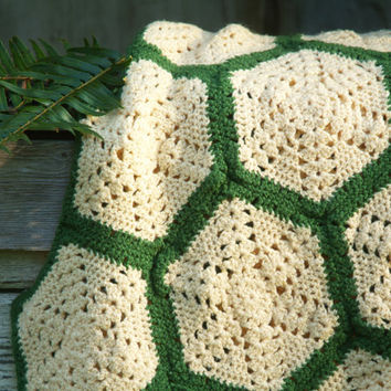 Vintage Afghan Throw, Handmade Crochet Blanket, Antique White and Forest Green, Hexagon Design