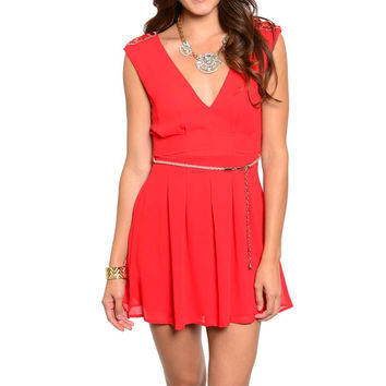 V-Neck Rhinestone Shoulder Fit & Flare Dress in Red