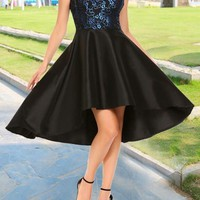 Black Lace Pleated Off Shoulder High-Low Tutu Homecoming Party Vintage Midi Dress