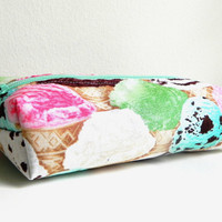 Scoops of Ice Cream Food Pencil Make up Box Case Pouch organizational device