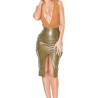 Clothing : Bodysuits : 'Irania' Tan Mesh Wrap Over Bodysuit
