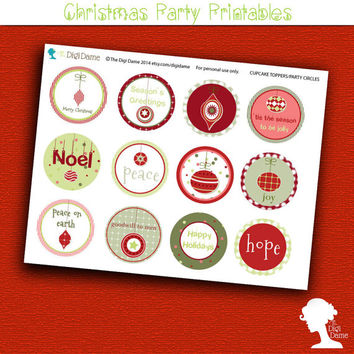 Party Printable: Christmas Holiday Season Baubles Cupcake Toppers/Party Circles  in Red and Green