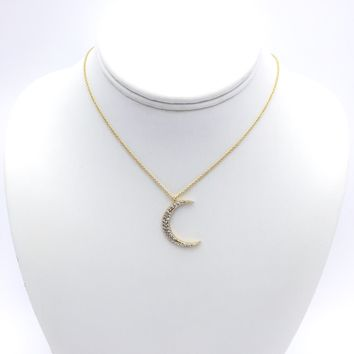 Diamond Crescent Moon In Gold Necklace