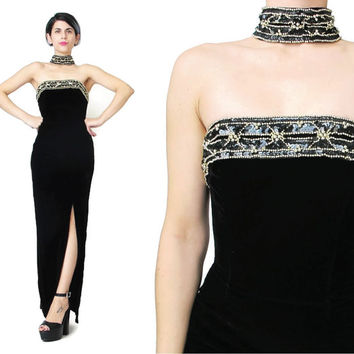 80s Black Velvet Evening Dress Choker Collar Beaded Sequin Dress Sexy Velvet Prom Dress Fitted Maxi Showgirl Strapless High Leg Slit (XS/S)