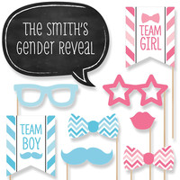 Baby Shower Photo Booth Props Kit - Chevron Gender Reveal