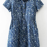 Short Sleeve Stars Printed Single Breasted Pockets Dress