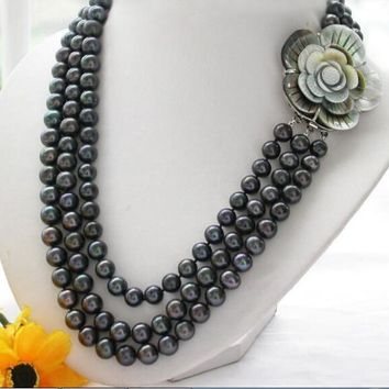 "3 Row 17"" 10Mm Round Tahitian Black Pearl Necklace Aaa"