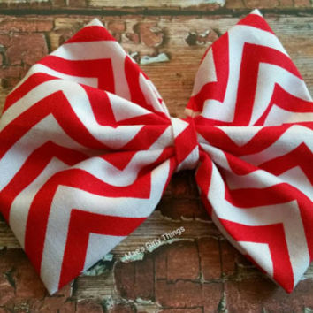 Extra large red chevron hair bow, perfect valentine's day hair bow, cheerbow, 5x5, red and white bow, any age fashion hair bow