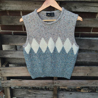 Vintage earth 70s 80's Sweater Hippie Boho top pullover vest